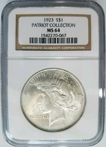 1923 Silver Peace Dollar NGC MS 64 Patriot Collection Pedigree Hoard Coin - $109.99