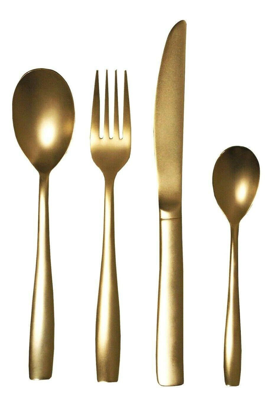 Seletti TWD Real Gold Plated Midas Cutlery Flatware 24 Piece Set $296.00 NIB