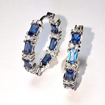 Blue Sapphire Baguette & Clear CZ Cubic Inside Outside Rhodium Hoop Earrings-USA - $29.69