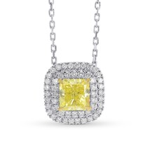 0.95Cts Yellow Diamond Halo Pendant Necklace Set in 18K White Yellow Gol... - $5,692.50