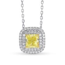 0.95Cts Yellow Diamond Halo Pendant Necklace Set in 18K White Yellow Gol... - £4,415.21 GBP