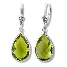 Womens Elegant 925 Sterling Silver Natural Peridot Dangling Pear Drop Earrings - £83.11 GBP