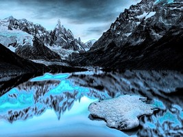 6525.Snow covered mountains.frozen lake.reflections.POSTER.art wall decor - $10.89+