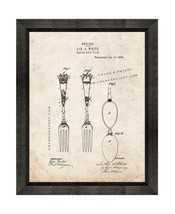 Spoon And Fork Patent Print Old Look with Beveled Wood Frame - $24.95+