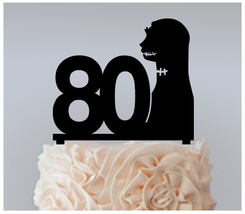 80th Birthday Anniversary Cake topper,Cupcake topper, Jack and Sally : 11 pcs - $20.00