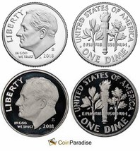 2018 SILVER & Clad Proof Roosevelt Dimes Gem Mint From Proof Sets 2 Coin... - $14.75
