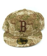 Boston Red Sox 59 Fifty Fitted 7 5/8 Hat Brown Tan Hats - $25.21