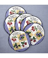 Alaska Wild Berries Round Drink Coasters Souvenir Bar set of 6 Plastic C... - $6.89
