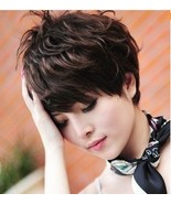 Ms. wig short hair, curly hair messy fashion brown - $30.00
