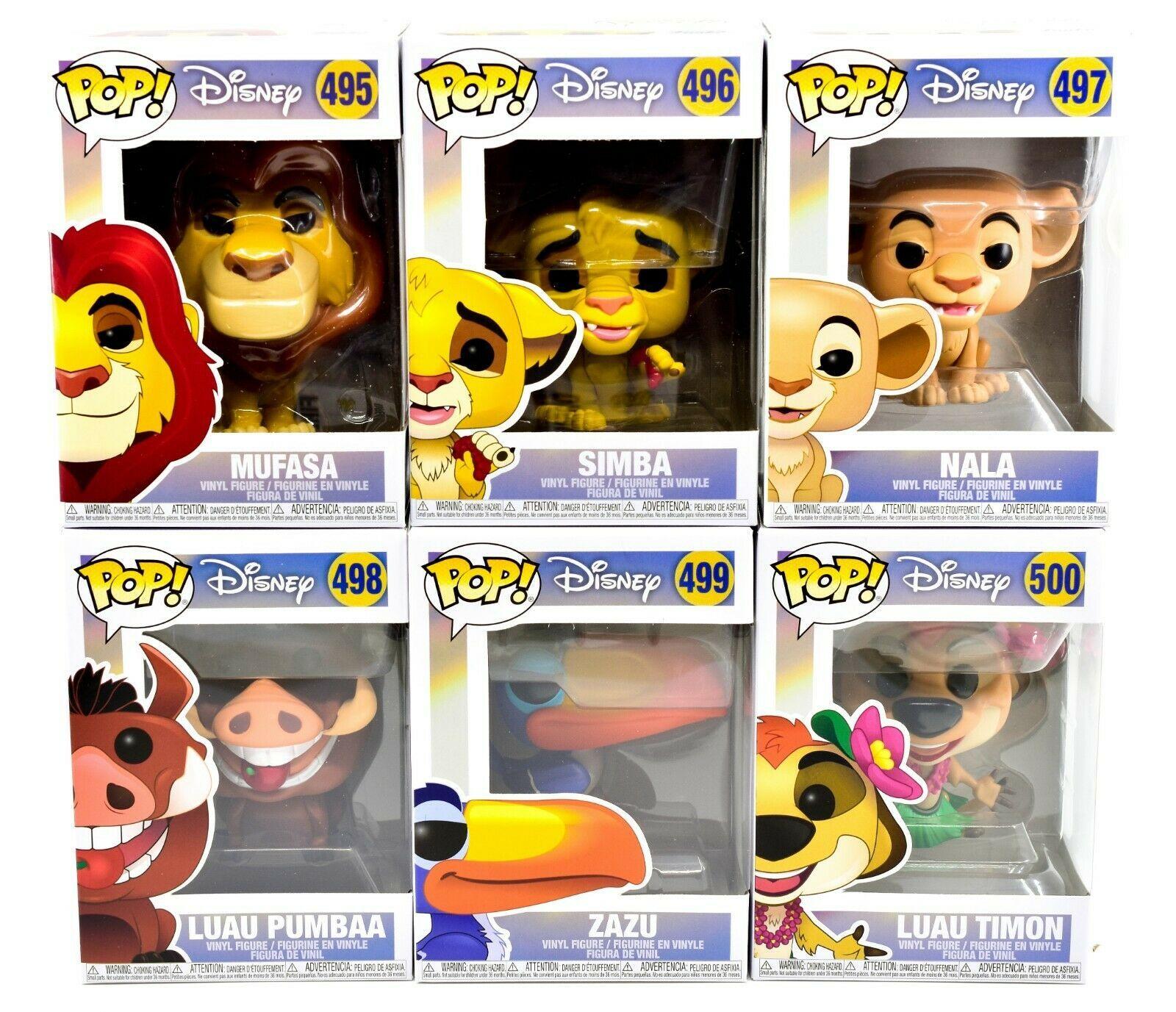 Funko Pop Disney The Lion King Mufasa Simba Nala Zazu Luau Pumbaa & Timon Set