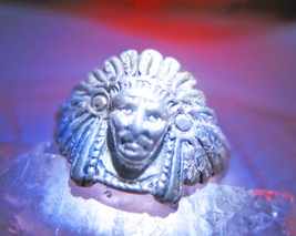 Haunted RING 3X LISTEN FOR THE SHAMAN'S CHANT MAGICK 925 TRIBAL WITCH CASSIA4 - $30.00