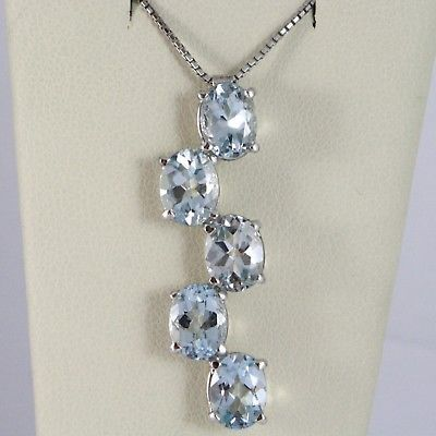 18K WHITE GOLD NECKLACE, OVAL CUT 5 AQUAMARINE PENDANT WITH VENETIAN CHAIN