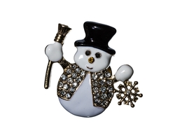 Crystal Stone Paved Christmas Snowman Pin & Brooch - $9.95