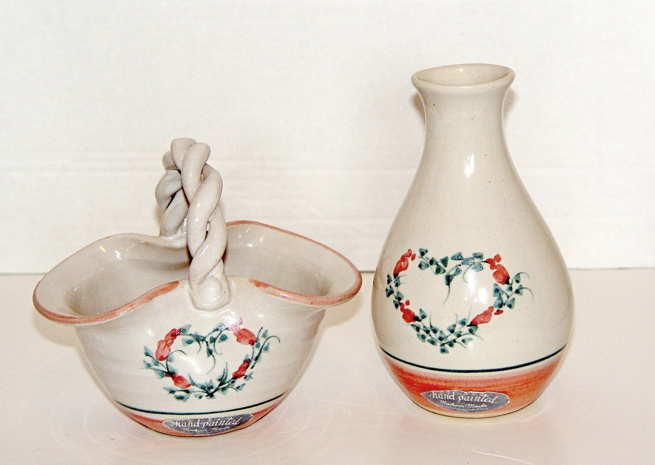 Mahon Made Pottery Basket Flower and Vase (2 Items Set)