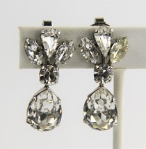 ESTATE VINTAGE Jewelry OLD HOLLYWOOD GLAM PEAR RHINESTONE DANGLE EARRINGS - $25.00