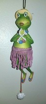 Hula Frog Ornament Hawaiian Dancer Mechanical Aloha Dancing Figurine - $10.80