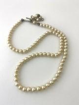 "Vintage Mini White Faux Pearl Choker Necklace, 15"" - $23.74"