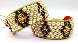 Traditional Cuff Bracelet Punchi Gold & Color Beads Strung In Chord India - $98.99