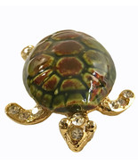 Vintage Gold tone Metal Ceramic Rhinestone Turtle Brooch Pin Unsigned - $8.72