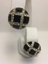 Joan Rivers Black Enamel Clear Crystal Clip Earrings Domed Gold Plated - $16.39