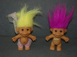 "Russ Troll Doll: Lot of 2 Purple & Yellow Hair 5"" - $14.00"