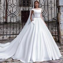 Luxury Solid Satin A-Line Princeess Bridal Gown With Train Back Button image 3