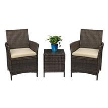 Devoko Patio Porch Furniture Sets 3 Pieces PE Rattan Wicker Chairs Beige... - €114,53 EUR