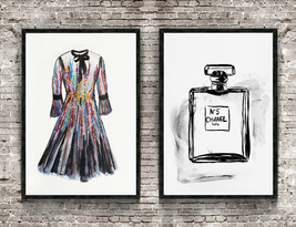 Chanel bottle and dress wall art print, Fashion illustrations, sequins d... - $74.95