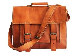 "18"" Brown Leather Cross-body Messenger Bag Leather Laptop Bag for Men women - $150.00"