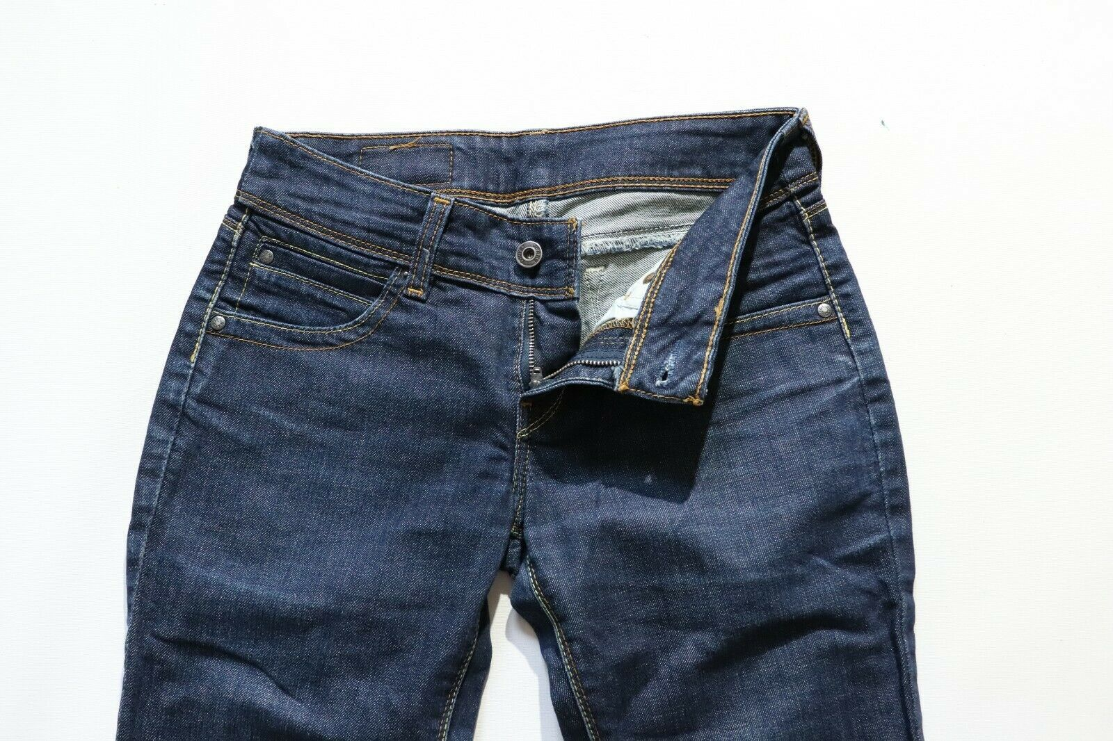 "Women's Vintage LEVI'S 433 Zip Fly Stretch Blue Denim Shorts Size W28 L14"""