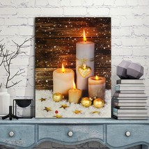 Flickering White Candles Light Up LED Canvas Painting Art Wall Picture M... - $35.05