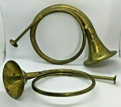 "Hunting Bugles Horns Round Brass Christmas Decor Pair 12"" 14"" Festive Vi... - $32.66"