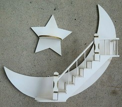 Vintage Crescent Moon & Star Stairway Mid Century Wall Hanging Shelf She... - $43.69