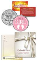 """It's a Girl"" Baby Gift  Keepsake JFK Kennedy Half Dollar US Coin - $8.86"