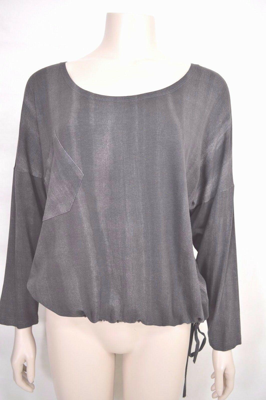 Matti Mamane top SZ M NWT dark gray drawstring waist scoop neck 3/4 sleeve new image 2