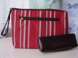 2pc Estee Lauder Rust Red Chocolate Patent Striped Cosmetic Bag Purse - $10.88