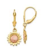 14K Two Tone Sunflower Dangle Leverback Earrings - $259.99