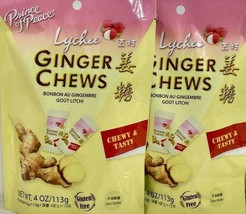 Prince of Peace Ginger Chews Candy with Lychee 4 oz ( Pack of 2 ) - $7.43