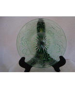 Green Vaseline glass with a berry pattern lunch plate. - $10.00