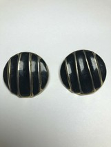 Vintage Costume Jewelry Earrings Round Gold Tone And Black - $2.44