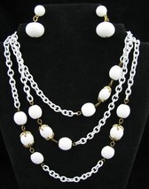 Vtg LONG Trifari White Chain Thermoset Necklace Cabochon Bead + Napier E... - $64.35