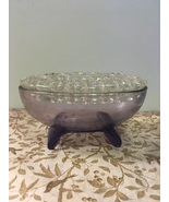 Vintage Viking Glass Pale Purple Oval Flower Frog // Candle Holder Cente... - $25.00