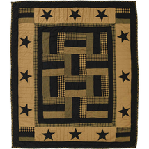 Delaware Hand-quilted Throw - Raven Black/Dark Khaki - Star, Plaids - VHC Brands