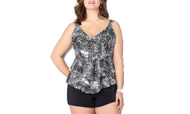 Women's V Neck Plus Size Ruched Two Pieces Tankini Swimsuit - $23.99