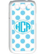 Circle Monogram White and Baby Blue Polka Dot Samsung Galaxy S3 Case Cover - $15.95