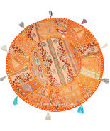 "Orange 28"" Round Cushion Cover Floor Pillow Throw Seating Tapestry India... - $31.67"