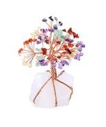 Top Plaza 7 Chakra Healing Crystals Copper Money Tree Wrapped On Natural... - $30.87