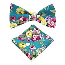 JEMYGINS Cotton Floral Self Tie Bow Tie and Pocket Square Set for 男装 4 - $15.99