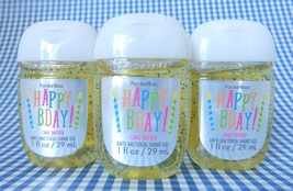 3 BATH & BODY WORKS HAPPY BDAY BIRTHDAY CAKE BATTER POCKETBAC HAND GEL NEW! - $17.99