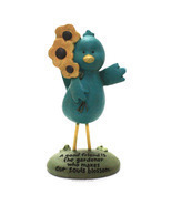 Blossom Bucket Good Friend Blue Bird Figurine Cute Friendship Gift - $3.18 CAD